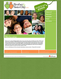 Brother and Sister Day Web Site Home Page.