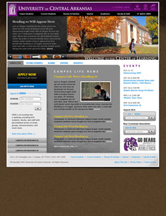 UCA Web Site Home Page.